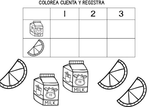 actividades de conteo para preescolar para colorear
