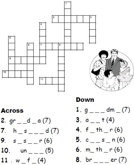 crucigrama para niños de primaria en ingles